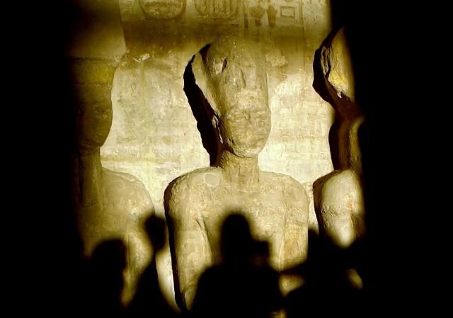 Ramses II i Abu Simbel-tempelet i Egypt. (AFP PHOTO/KHALED DESOUKI)