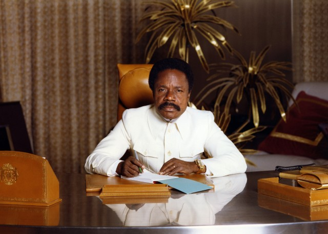 (FILES) This picture taken 1982 shows Gabonese President Omar Bongo at his office. Gabon President Omar Bongo Ondimba, Africa's longest serving leader, has died aged 73 in a Spanish clinic, a French government source said on June 7, 2009.