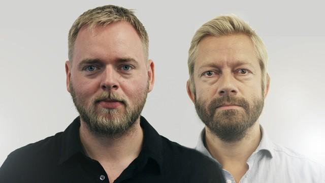 Tore og Bjarte etter 14 dager av skjeggkonkuransen (Foto: Jonas Jeremiassen Tomter/Kim Erlandsenm NRK P3).