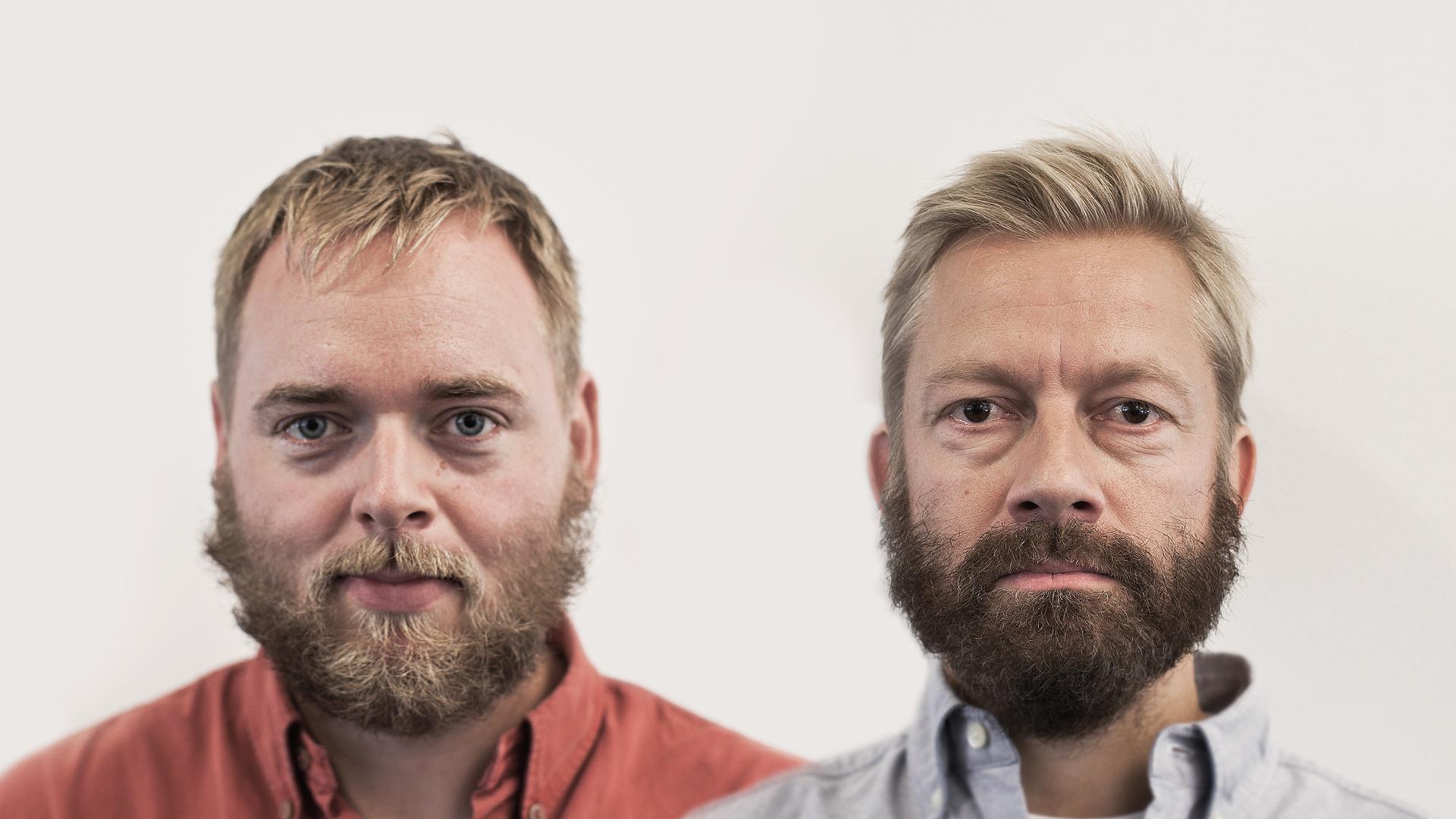 Tore og Bjarte med utbrettet skjegg (Foto: Jonas Bødtker, NRK P3).