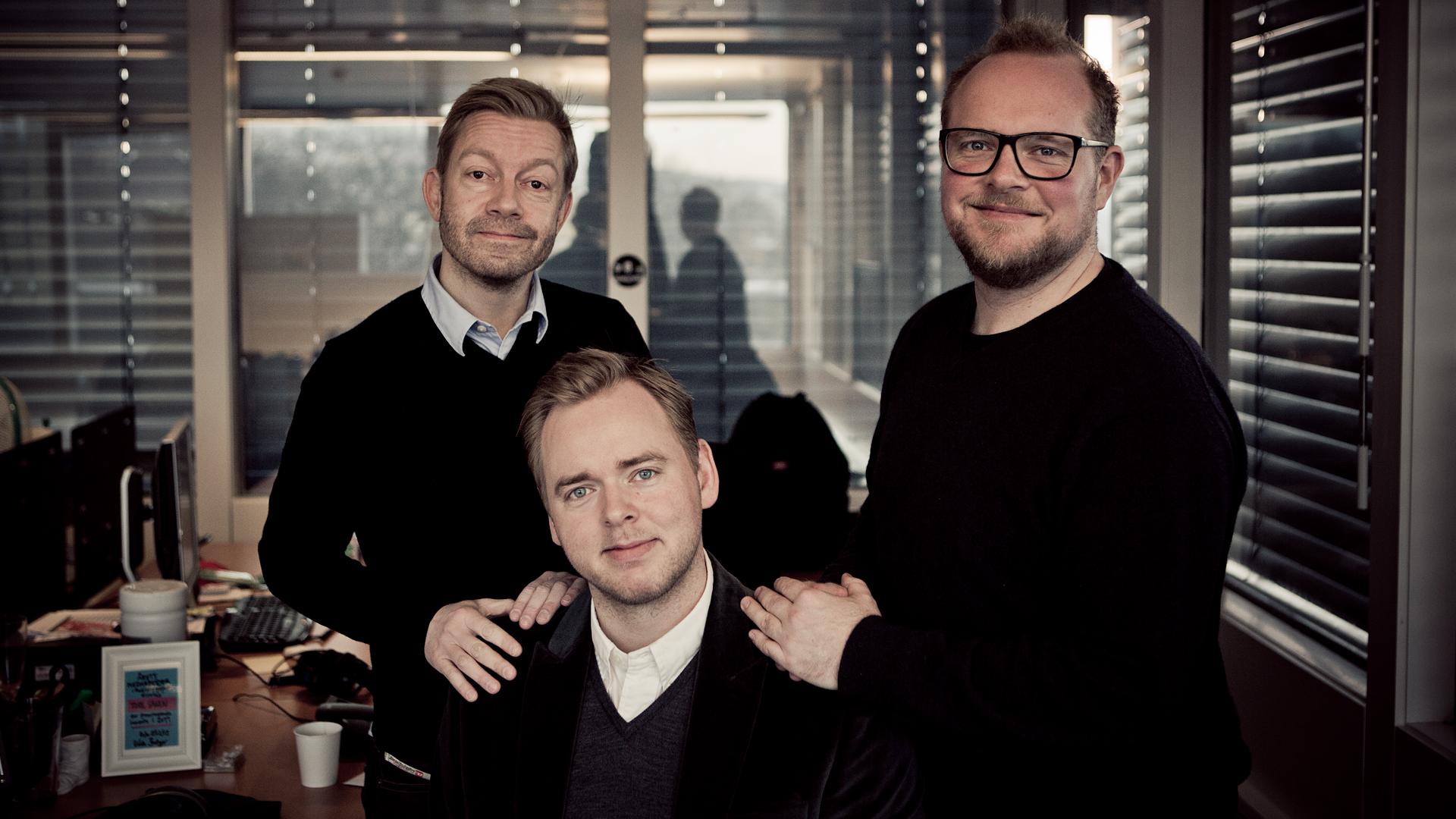 Bjarte Tjøstheim,Tore Sagen og Steinar Sagen i Radioresepsjonen på P3 (Foto: Kristoffer Pettersen Rambøl, NRK P3).