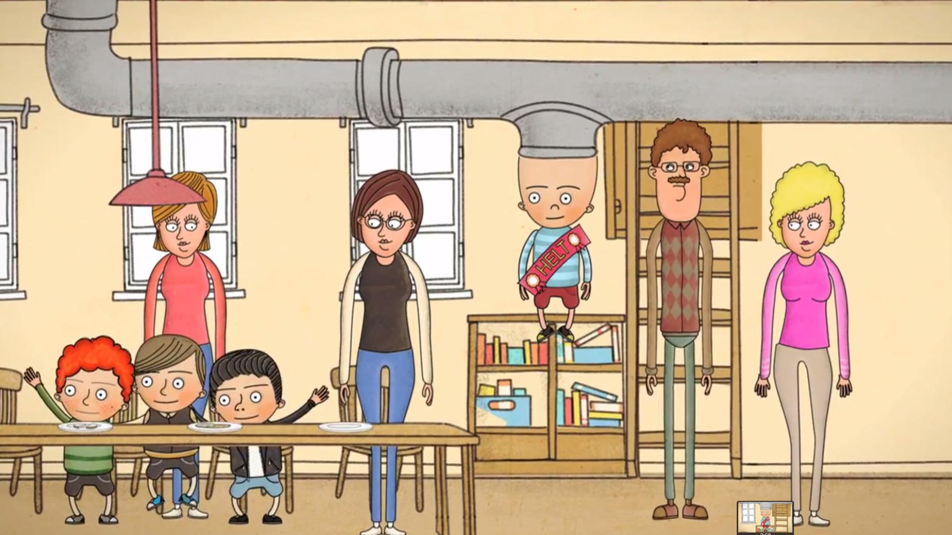Screenshot fra tegnefilmen som Kindergarten har laget om Sivert.
